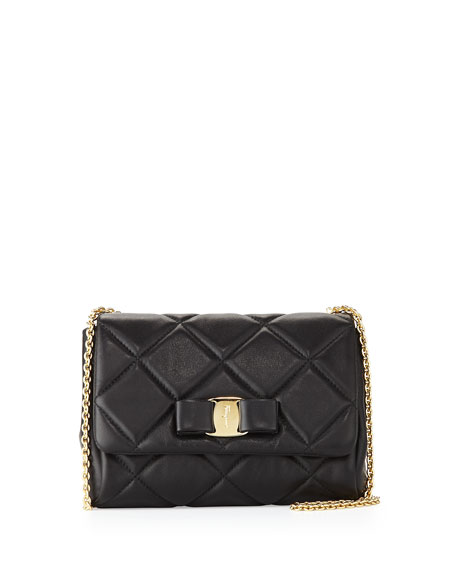 Miss Vara Bow Quilted Crossbody Bag, Nero (Black)