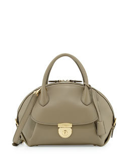 Salvatore Ferragamo Fiamma Ornament Lock Satchel Bag, Moss