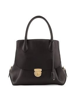 Salvatore Ferragamo Fiamma Ornament-Lock Tote Bag, Nero Black