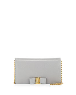 Salvatore Ferragamo Miss Vara Bow Clip Wallet-on-a-Chain, Plume