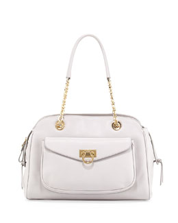 Salvatore Ferragamo A-Line Pocket Chain Shoulder Bag, Plume