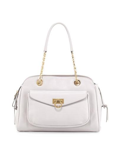 Salvatore Ferragamo A-Line Pocket Chain Shoulder Bag, Plume