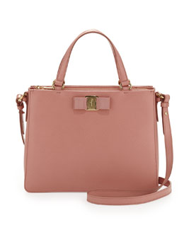 Salvatore Ferragamo Tracy Saffiano Vara Satchel Bag, Blush