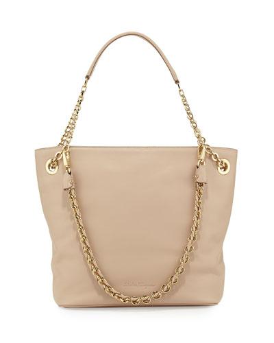 Salvatore Ferragamo Malia Smooth Leather Shoulder Bag, New Bisque