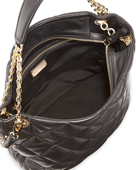 Malia Quilted Leather Shoulder Bag, Nero Black