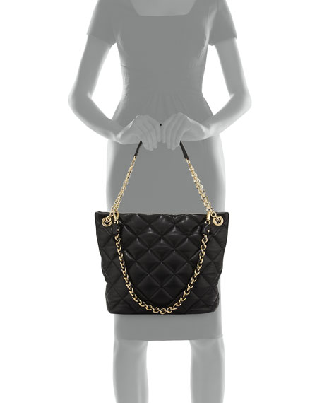 Malia Quilted Leather Shoulder Bag, Nero Black