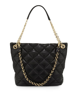 Salvatore Ferragamo Malia Quilted Leather Shoulder Bag, Nero Black