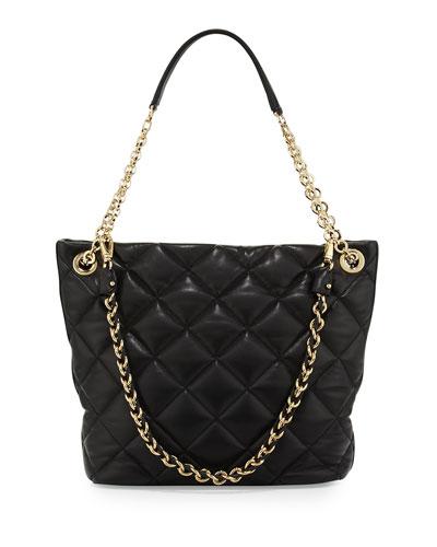Salvatore Ferragamo Malia Quilted Leather Shoulder Bag, Nero Black