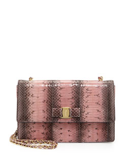 Salvatore Ferragamo Vara Esotico Ginny Crossbody Bag, Cacao/Blush