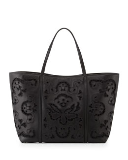 Dolce & Gabbana Leather Lace Shopping Tote Bag, Black
