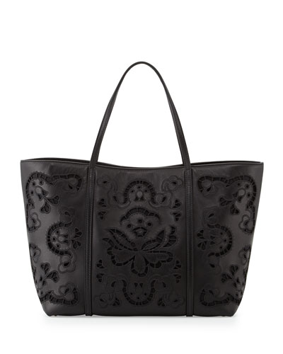 Leather Lace Shopping Tote Bag, Black