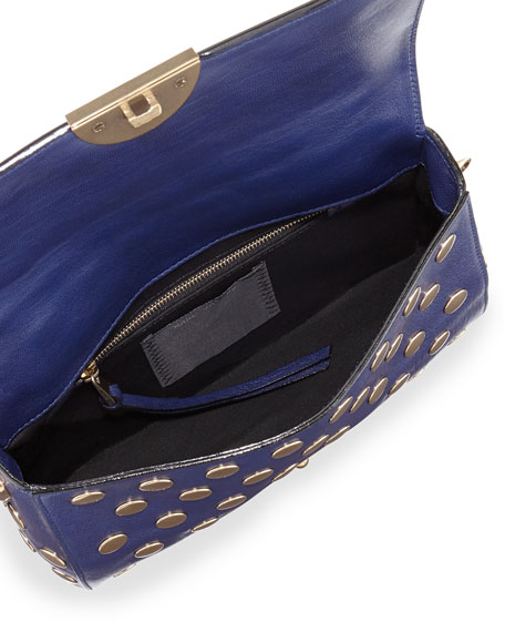Flat Studs Small Gotham Shoulder Bag, Blue