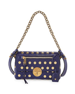 Marc Jacobs Flat Studs Small Gotham Shoulder Bag, Blue