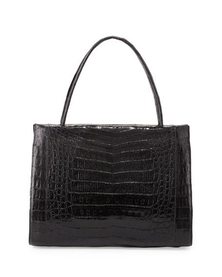 Wallis Medium Crocodile Bag, Black