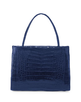 Nancy Gonzalez Wallis Medium Crocodile Bag, Electric Blue
