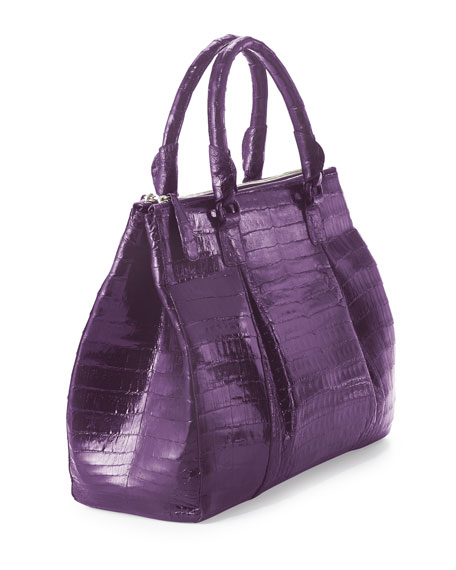 Plisse Large Crocodile Tote Bag, Purple