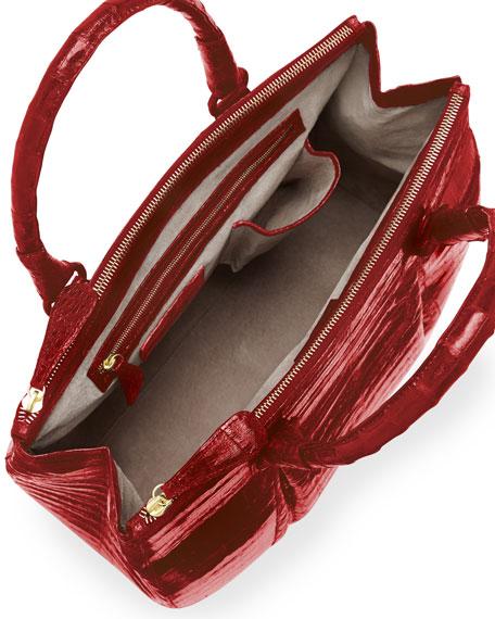 Plisse Large Crocodile Tote Bag, Red