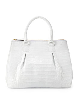 Nancy Gonzalez Plisse Large Crocodile Tote Bag, White
