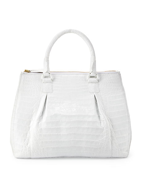Plisse Large Crocodile Tote Bag, White