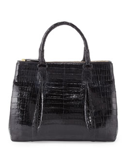 Nancy Gonzalez Plisse Large Crocodile Tote Bag, Black