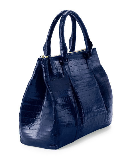 Nancy gonzalez plisse large crocodile tote bag electric blue for Nancy gonzalez crocodile tote