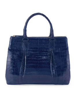 Nancy Gonzalez Plisse Large Crocodile Tote Bag, Electric Blue