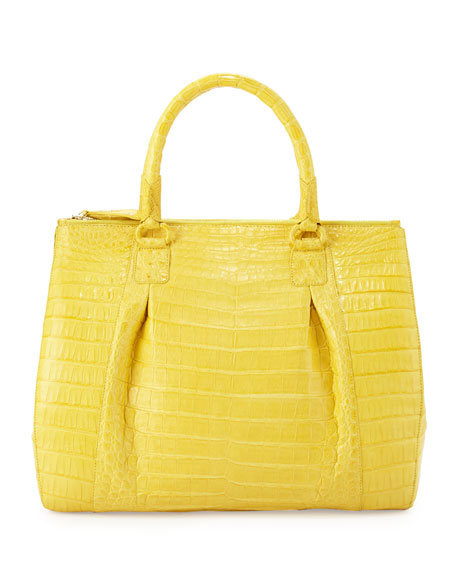 Plisse Large Crocodile Tote Bag, Yellow