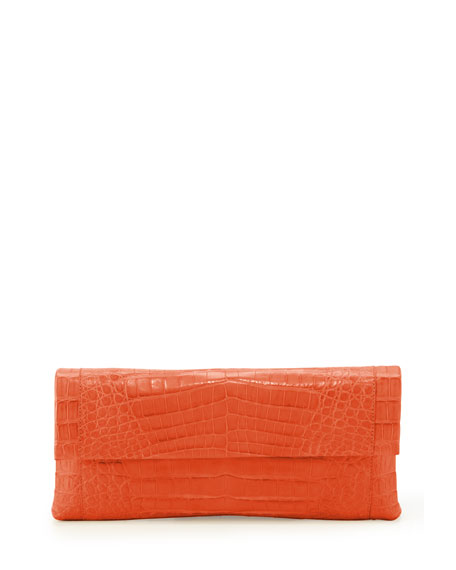 Crocodile Flap Clutch Bag, Orange