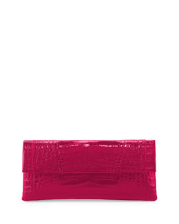 Nancy Gonzalez Crocodile Flap Clutch Bag, Pink