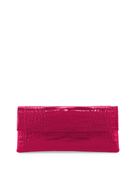 Gotham Crocodile Flap Clutch Bag, Pink