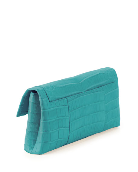 Crocodile Flap Clutch Bag, Turquoise