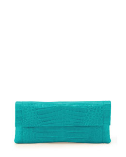 Nancy Gonzalez Crocodile Flap Clutch Bag, Turquoise