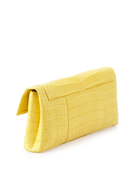 Crocodile Flap Clutch Bag, Yellow