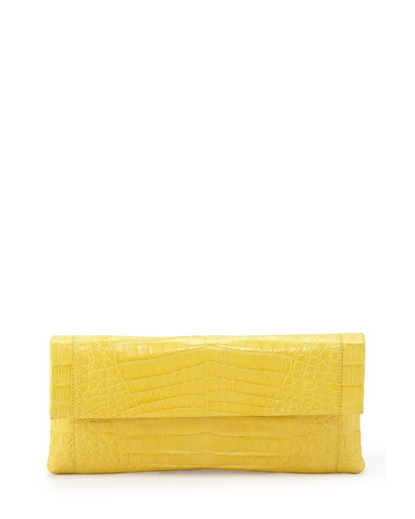 Crocodile Flap Clutch Bag, Yellow