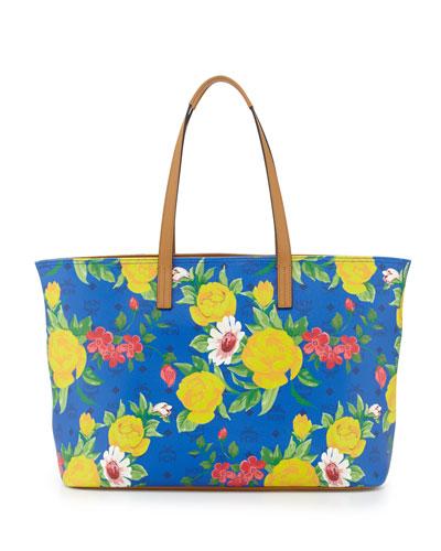 MCM Visetos Flower Tote Bag, Blue