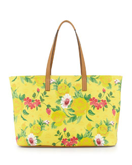 MCM Visetos Flower Tote Bag, Yellow