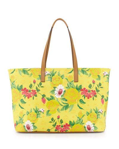 MCM Visetos Flower Tote Bag, Yellow
