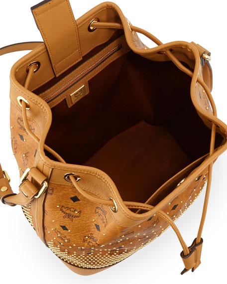 Gold Visetos Drawstring Bag, Cognac