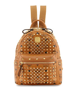 MCM Gold Visetos Mini Leather Backpack, Cognac