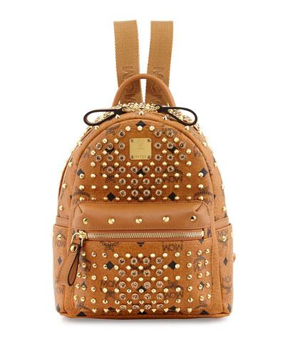 MCM Gold Visetos Mini Leather Backpack, Cognac