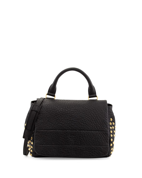 Keana Studded Lambskin Satchel Bag, Black