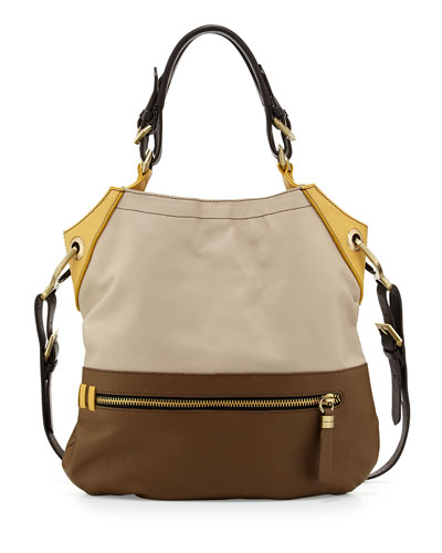Sydney Colorblock Tote Bag, Natural Multi