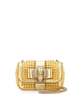 Christian Louboutin Sweet Charity Small Spiked Crossbody Bag, Gold
