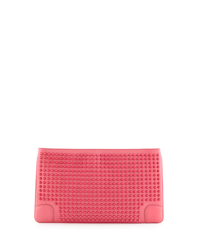 Loubiposh Spikes Clutch Bag, Pink