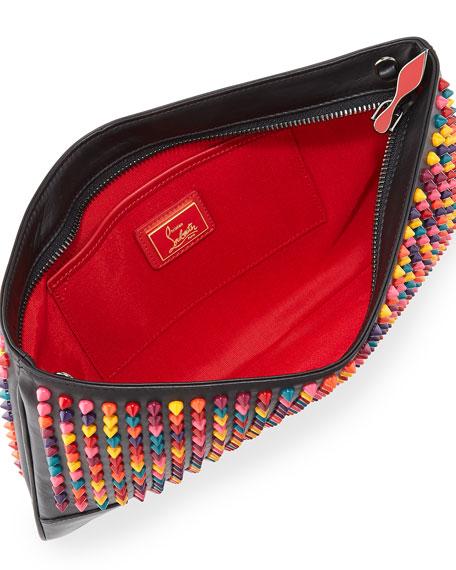 Loubiposh Spiked Clutch Bag, Black