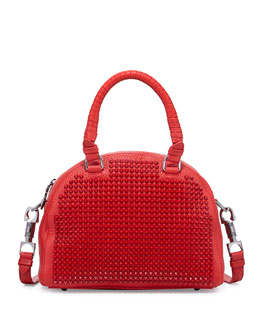 Christian Louboutin Panettone Small Spiked Satchel Bag, Red