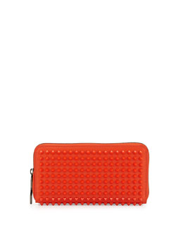 Christian Louboutin Panettone Spiked Zip Wallet, Orange