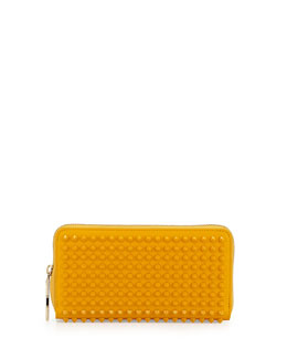 Christian Louboutin Panettone Spiked Zip Wallet, Yellow