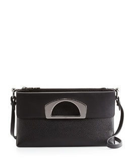 Christian Louboutin Passage Pebbled Calfskin Large Fold-Over Bag, Black