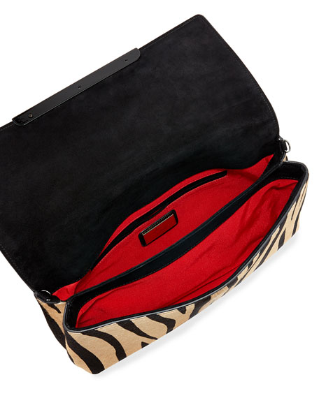 Rougissime Tiger-Print Calf Hair Clutch Bag